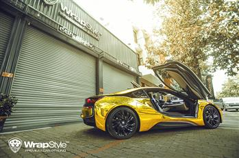 BMW i8 - Golden Chrome Full Wrapping